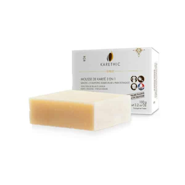 Mousse de Karité - Savon-shampoing solide 3 en 1 Bio - Karethic