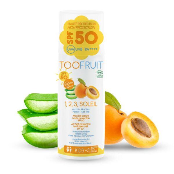 1 2 3 Soleil, Fluide Nongras Abricot Aloe Vera Spf 50 Bio - 100ml Bio Toofruit