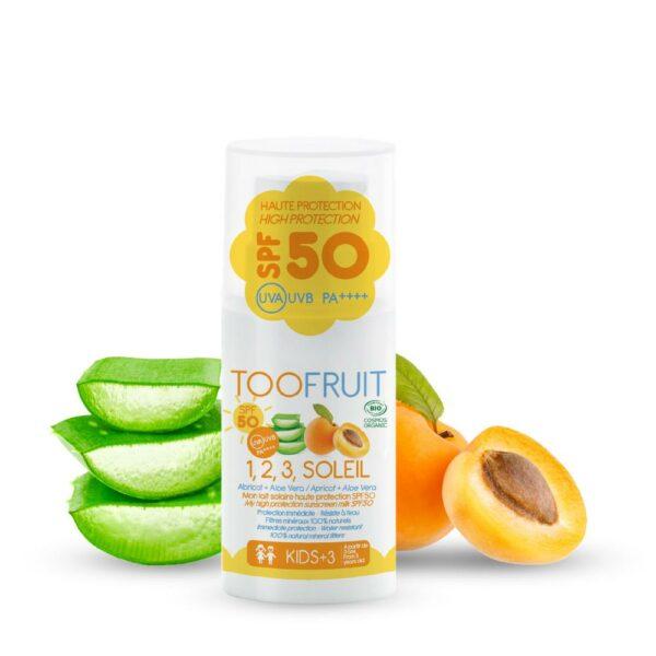 1 2 3 Soleil, Fluide Nongras Abricot Aloe Vera Spf 50 Bio - 30ml Bio Toofruit