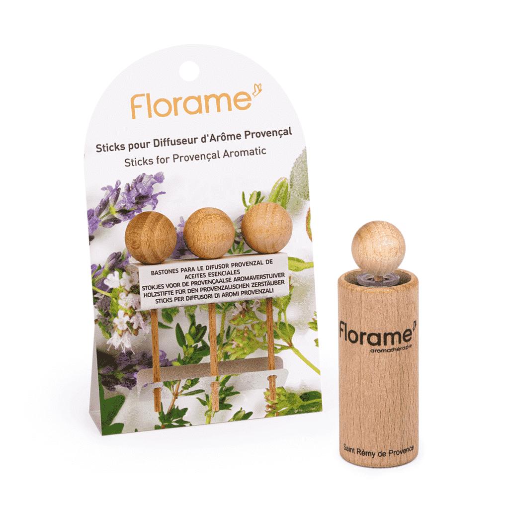 3 Sticks en Bois pour Diffuseurs d'Arôme Provençal Bio - Florame