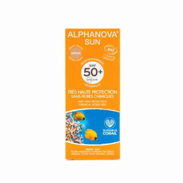 Crème Solaire Teintée Médium Très Haute Protection SPF50+ Bio - Alphanova
