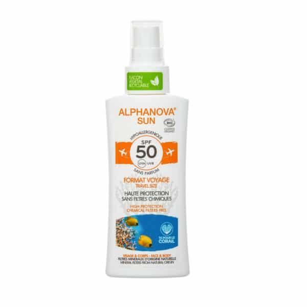 Crème Solaire Hypoallergénique Format Voyage SPF50 Bio - Alphanova