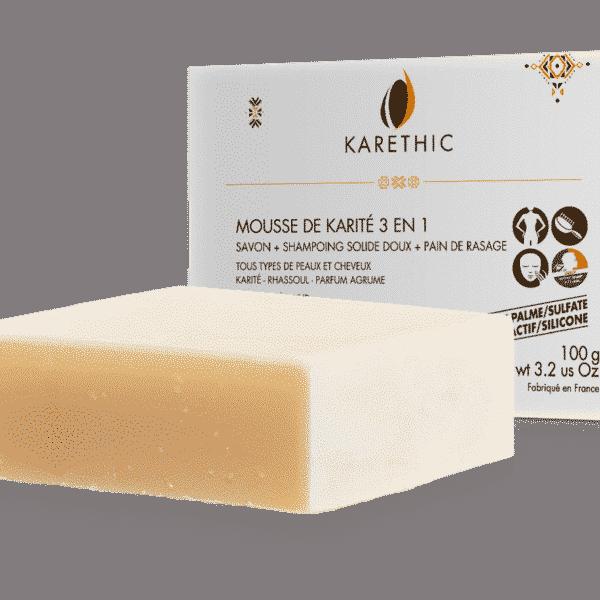 Savon Shampooing Solide 3 en 1 Mousse de Karité Bio - Karethic
