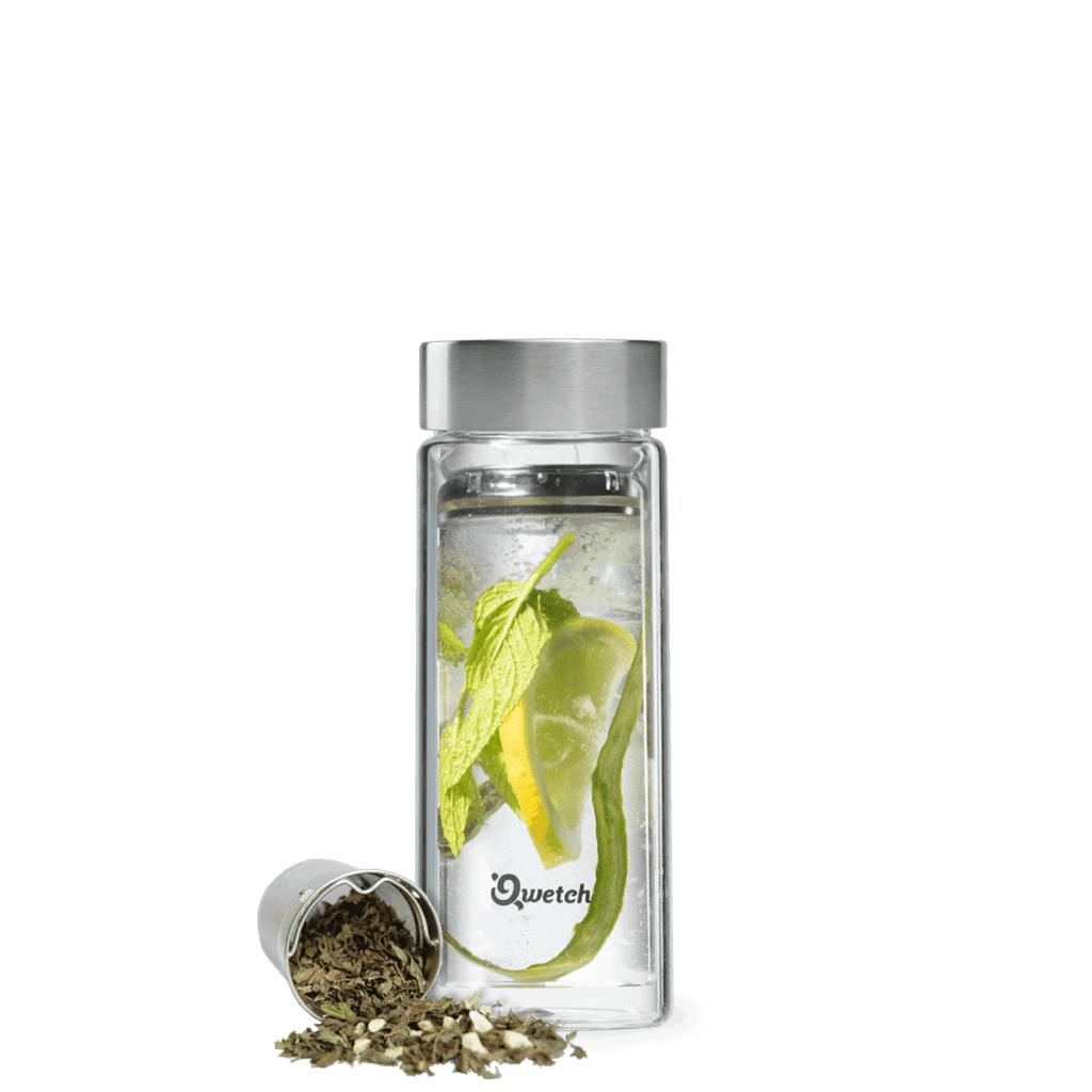 Théière nomade en verre et bouchon inox 320ml + 2 filtres - Qwetch