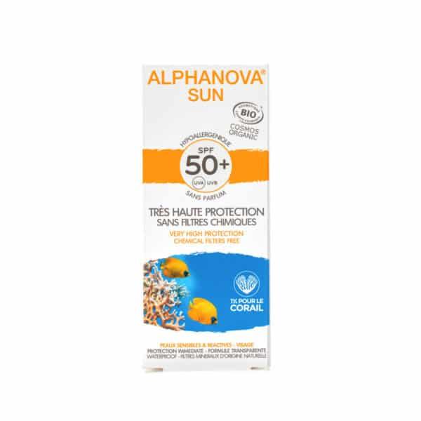 Crème Solaire hypoallergénique Visage SPF50 Bio - Alphanova