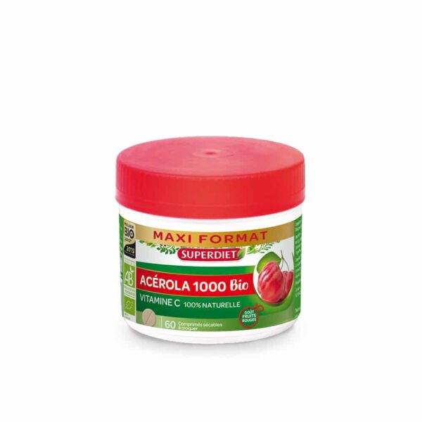 Acerola 1000 Bio pot 60 comprimes - SuperDiet