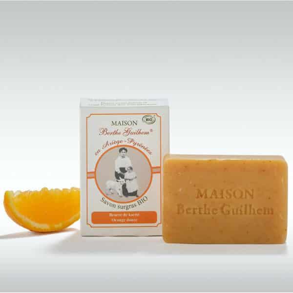 Savon Neutre au Lait de Chevre Beurre Karite Orange Douce - maison berthe guilhem