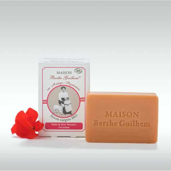 Savon Neutre au Lait de Chevre Rose musquee Geranium - maison berthe guilhem